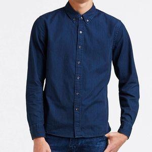 New - Levi's No Pocket Indigo Button Down Shirt